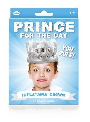 Prince For The Day Inflatable Birthday Party Crown Boys Approx Age 3-6