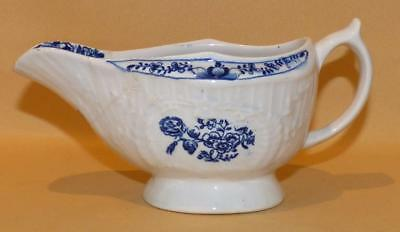 Lowestoft Moulded Natural Sprays Blue & White Sauce Boat C1768