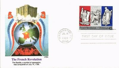 Dr Jim Stamps Us French Revolution Air Mail First Day Cover Washington Dc 1989