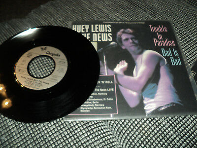 Rock Single Vinyl Huey Lewis and The News Trouble in Paradis Promo / Streng Limi
