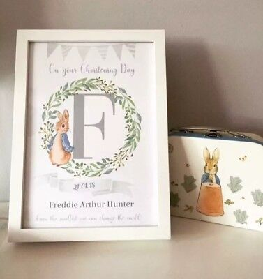 Personalised Godparent christening gift Godson A4 Print Nursery Art Peter Rabbit