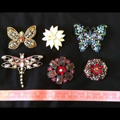 Lot of 6 Jeweled Brooches