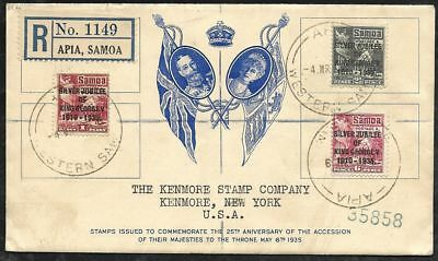 SAMOA 1935 Silver Jubilee Set Registered FDC to Kenmore NY