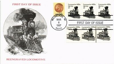 Dr Jim Stamps Us Locomotive Transportation Coil First Day Cover Strips 1987