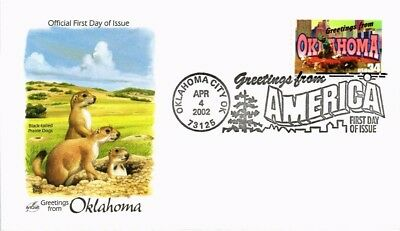 Dr Jim Stamps Us Oklahoma Greetings From America First Day Cover 2002