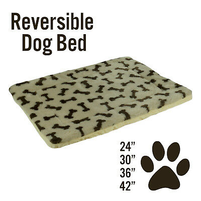 Dog Cat Pet Bed Mat Crate Kennel Cage Fleece Sherpa Pad Reversible, Bone Print