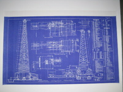 Blueprint VINTAGE WOODEN OIL DERRICK 21x35 c.1914