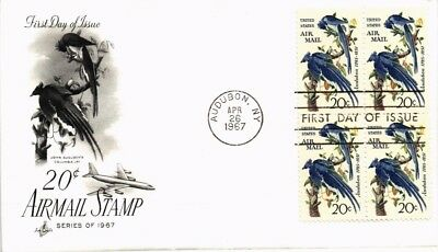 Dr Jim Stamps Us 20C Audubon Air Mail First Day Cover Block 1967 Art Craft