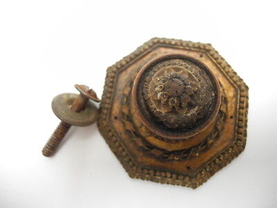 Antique Composite Ornate Cabinet Drawer Knob Pull with 8 Sided Back plate