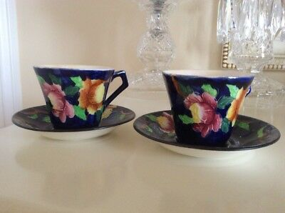 2 Maling Art Deco Coffee Cans And Saucers