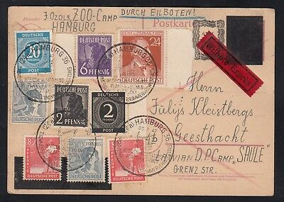 GERMANY 1947 Postal card, blocked-out Hitler head, Displaced Persons Camps
