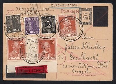 GERMANY 1947 Postal card, blocked-out Hitler head, Displaced Persons Camp