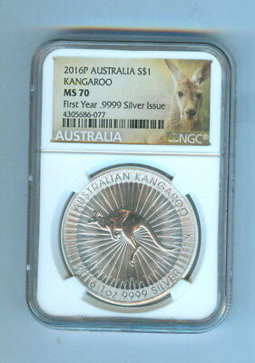 2016-P One Dollar Australia Kangaroo First Year Issue 1 Oz.999 Silver Ngc-Ms 70