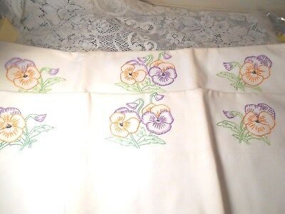 Vintage Hand Embroidered Pansy Cotton Pillowcases