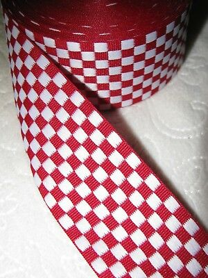 "Offray Checkerboard Fabric Ribbon - Red/White -  1 1/2"" Wide, 13+ Yard Roll"