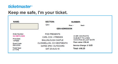 2 Tickets to Carl Cox and Friends, Ballinlough Castle, Co. Westmeath 25th-Aug-18