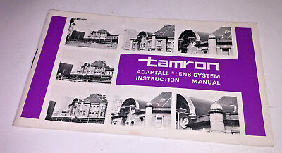 Instruction manual for the original Tamron Adaptall lens system, 1970s
