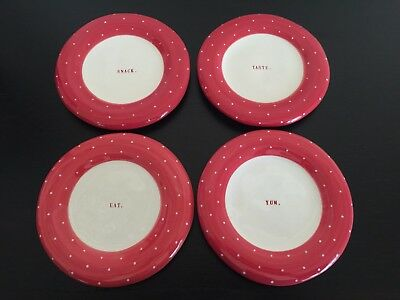 "RAE DUNN 4pc APPETIZER PLATES Red Dot ""EAT. YUM. SNACK. TASTE."" NWT"
