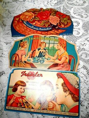 3-Vintage Needle Books-American Beauty,Finepoint,Traveler/Japan