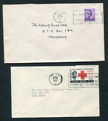 1963/64 Hong Kong GB QEII 2 x Covers with H.K. Products Exhibition Slogans