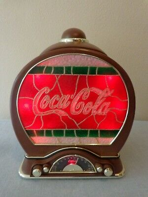 Coke - Coca Cola Cookie Jar with AM/FM Radio * Lighted Stained Glass Look *