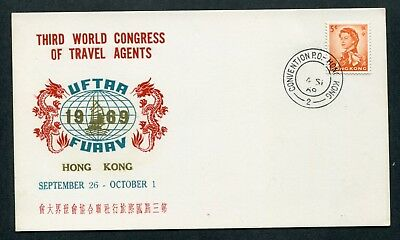 04.09.1969 Hong Kong GB QEII 5c Stamp on Card with Convention P.O. / 2  CDS Pmk