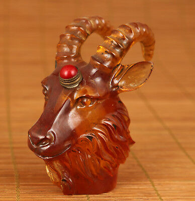Rare 20th antique Chinese Old Glaze Handmade Carved Sheep Statue Snuff Bottle