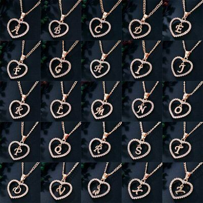 Fashion Initial Alphabet Letter A-Z Heart Crystal Pendant Necklace Jewelry Gift