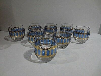 8  Mid Century Modern Culver Blue & Gold Scroll Roly Poly Tumblers