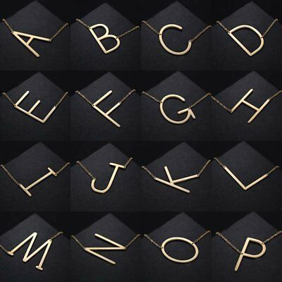 Gold/Silver Stainless Steel Large Alphabet Initial Pendant Necklace Jewelry Gift