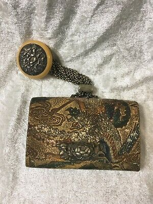 Japanese Meiji Antique Embrossed Tobacco Pouch floral Ojime on Silver Chains