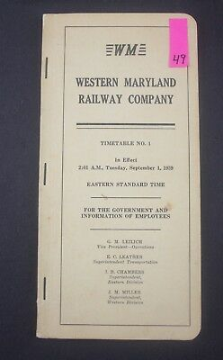 1959 WM Western Maryland Railway Railroad Timetable 49