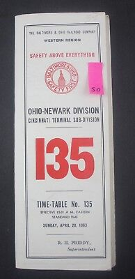 1963 B&O Baltimore and Ohio, Newark, Cincinnati Terminal Railroad Timetable 135
