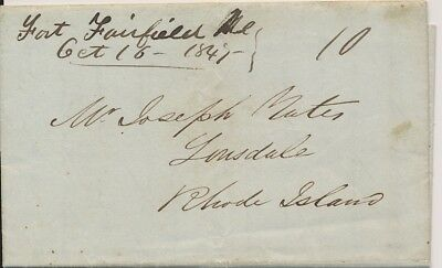 Stampless Letter M/S Fort Fairfield Maine 1847 to Rhode Island about estate