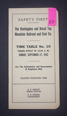 1942 Huntingdon & Broad Top Mountain Railroad Timetable 53