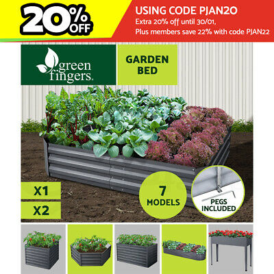 4 Sizes Galvanised Steel Raised Garden Bed Instant Planter Square X1 X2