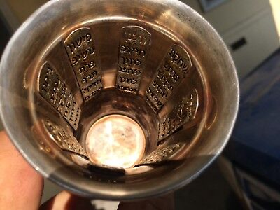Judaica Sterling Silver Kiddush  Cup W/ Hebrew & 8 Tablets Inside Cup Help ID