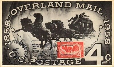 Dr Jim Stamps Us Overland Mail Hpo Fdc Postcard 1958 Tipton San Francisco