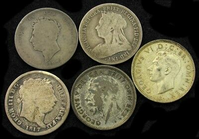 Lot of 5 Great Britain Silver Shillings (5 Diff. Monarchs) -AG to AU- 1817-1939