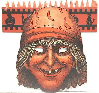 Halloween Beistle Die Cut Cardboard Mask w/ Honeycomb Top ~ Pirate –1930s