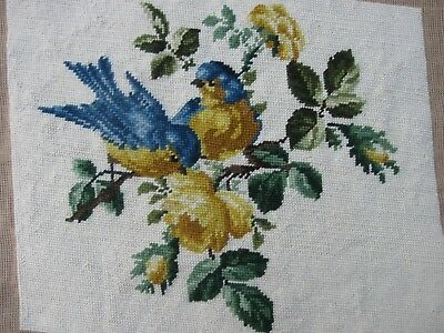 Queen Adelaide completed wool TAPESTRY blue BIRDS in yellow ROSE BUSH