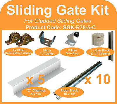 Complete Sliding Gate Hardware Kit for 5m Cladded Gate 78mm recess mount wheels