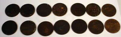 Lot of 14 Canada Large Cents 1859-1900 Collection Vintage Antique Coins