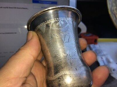 Judaica Sterling Silver Kiddush Cup Engraved Star and Hebrew 112 Grams 5 3/4 in