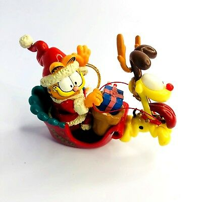 Garfield Santa in Sleigh & Odie as Reindeer Rudolph Vintage Christmas Ornament
