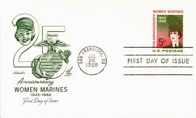 Dr Jim Stamps Us Women Marines 25Th Anniversary First Day Postal Card 1968