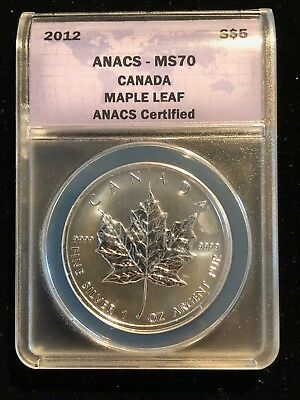 2012 ANACS Certified MS70 Canada Maple Leaf Silver 1 Oz Ounce $5 Dollar Coin