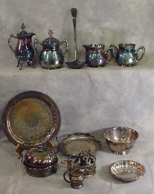 Lot Of 14 Silver Plated Dishes Antique Vintage Sheridan National Barbour