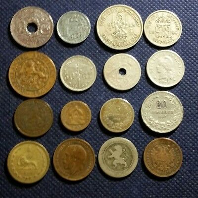 LOT Of 16 OLD VINTAGE WORLDWIDE WORLD FOREIGN COINS 1881 to 1948 MIX EUROPE MORE