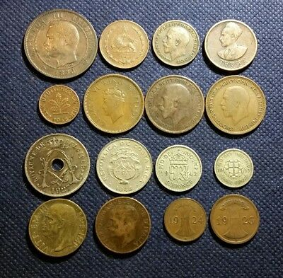 LOT Of 16 OLD VINTAGE WORLDWIDE WORLD COINS 1856 1948 MIX EUROPE GERMANY FRANCE